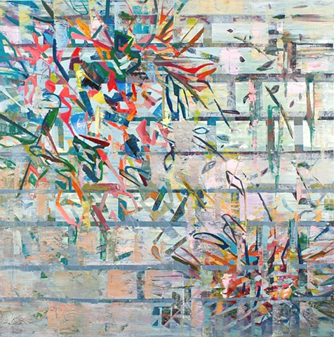 Abstract oil painting by Kellie Lehr.  White, layers, digital, nature, plants, grid. Contemporary art, modern art, fine art.