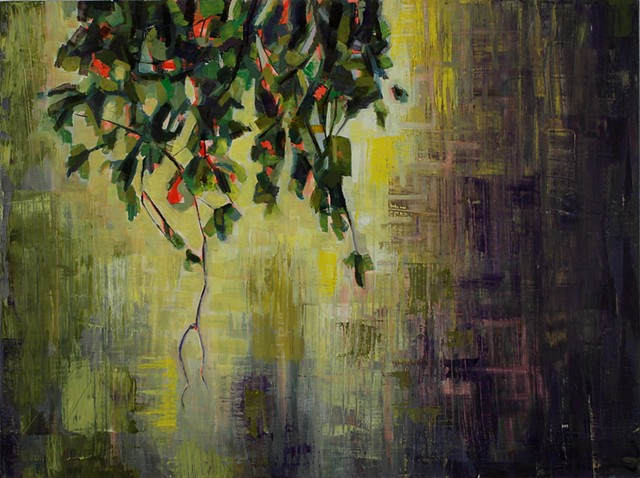 Oil painting by Kellie Lehr.  Nature, tree branch, digital space