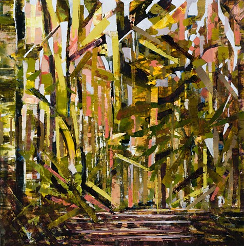 Abstract oil painting by Kellie Lehr.  Fragmentation, abstraction, nature, woods, plein air painting.  Fine art, contemporary art, modern art. Arkansas artist.  Mount Sequoia