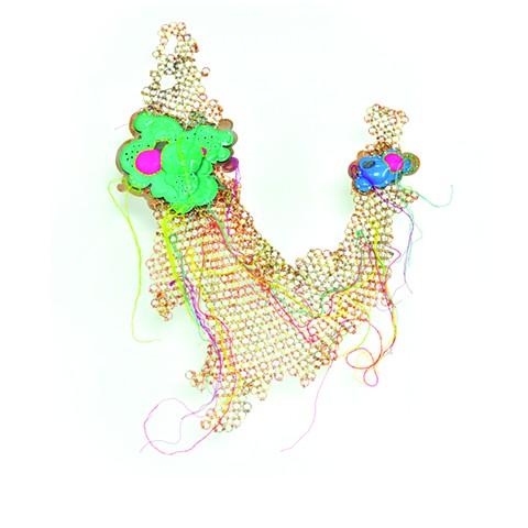 Contemporary Armor, Brooch, Powder Coat, Embroidery Thread,