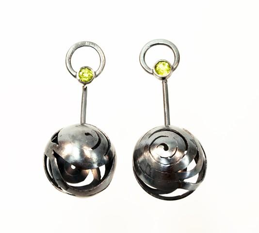 earrings silver sterling silver peridotite