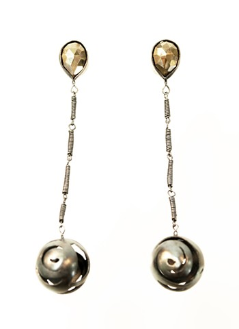 sterling silver, pyrite earrings neta ron