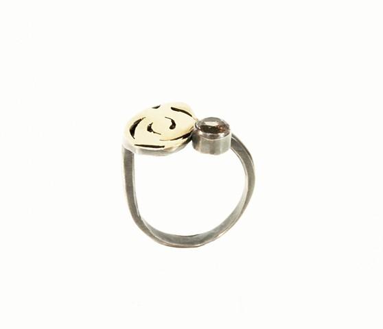 gold 14k gold smoky quartz ring
