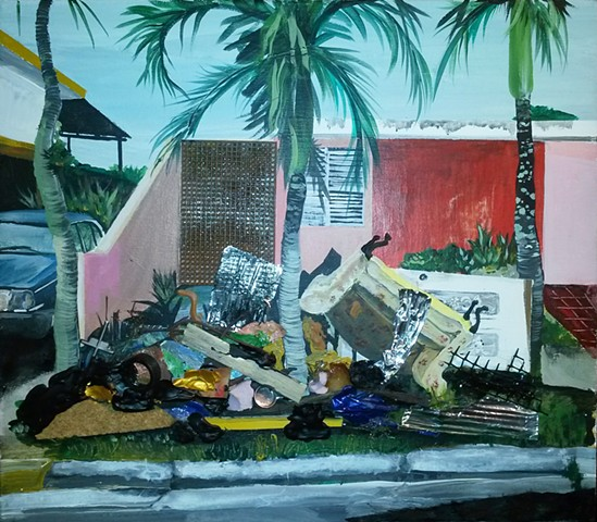 painting of trash in a house by Omar Velazquez