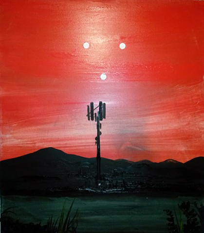 painting of communications antenna by Omar Velazquez