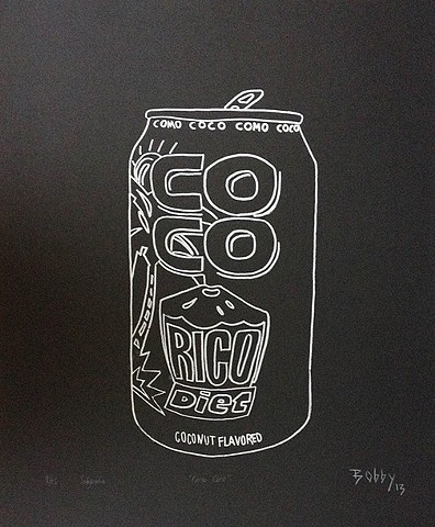 artwork of coco rico beverage by Bobby Cruz