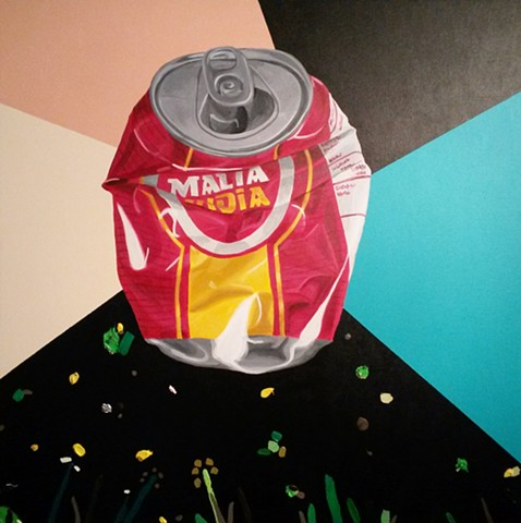 Artwork of malta India. Crushed can.