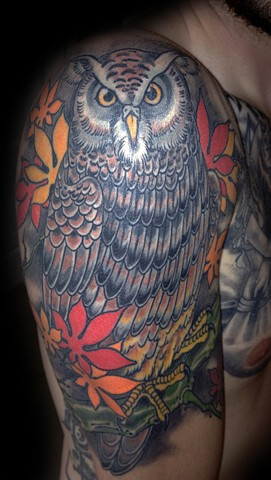 Owl and maple leaves for Larry