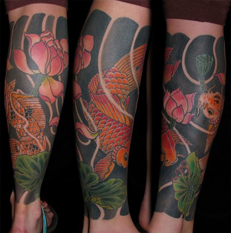 Koi and lotus for Shelby