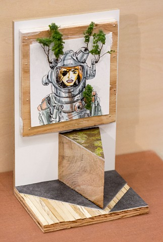 miniature gallery wood space age painting sculpture