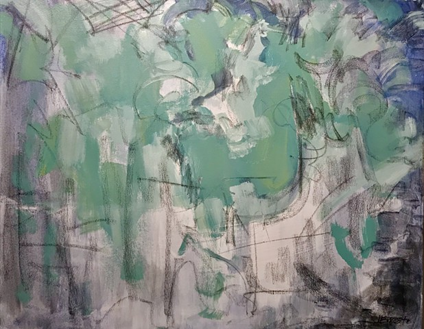 Abstract, abstract expressionism, organic, green, blue, modern art, painting