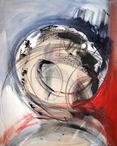 Colorful art modern abstract expressionist painting energy emotion red black blue white texture dramatic