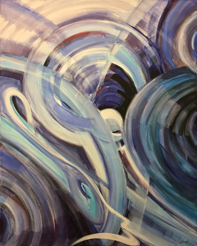Abstract art, Abstract Painting, Abstract Expressionism, Modern Art, Blues, Teals, Purples, Circles, Dimension, Depth, Perspective, Time, Space, Movement