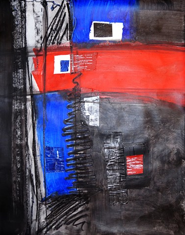 Colorful art modern abstract expressionist painting red black blue texture dramatic