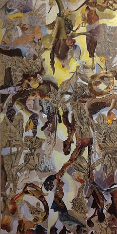 wood panel collage including book pages from Treasure Island, invented creatures, acrylic paint. By David Waddell