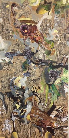 By David Waddell. Art on wooden panel, collage including books from Treasure Island, invented creatures and acrylic paint.