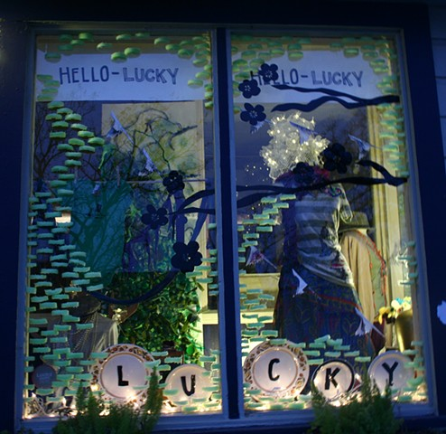 Hello Lucky, Houston, Texas storefront designed by David Waddell.  pool noodles