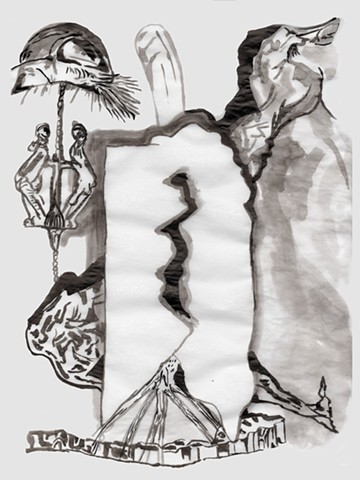 Fresh Arts, Community Supported Arts (CSA) project, ink on tracing paper by David Waddell. Houston, TX