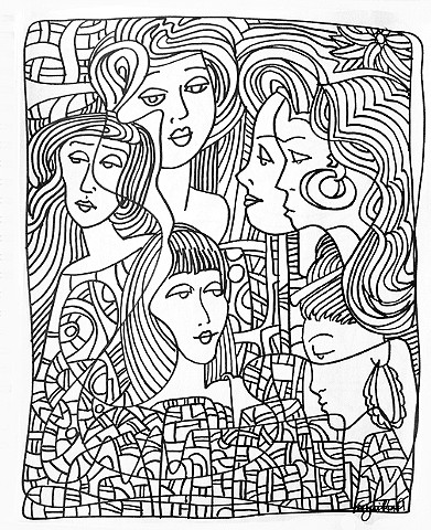 """Six Women"", from the Coloring Book Series"