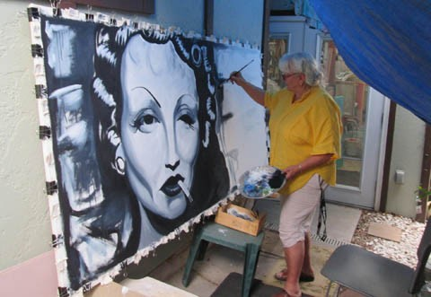 "The artist working on ""Femme Fatale"" at her studio"