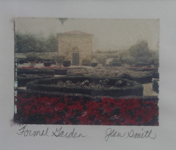 Polaroid transfer, handcolored, Italy, garden