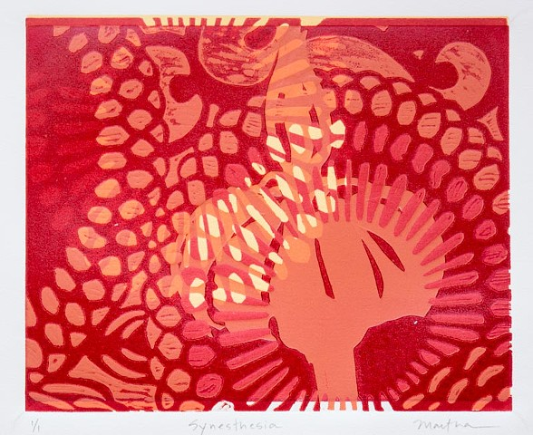 wood block print and stencil on paper