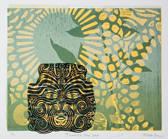 Wood block with stencil and collage