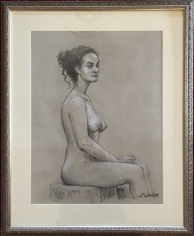 Life Drawing, seated nude