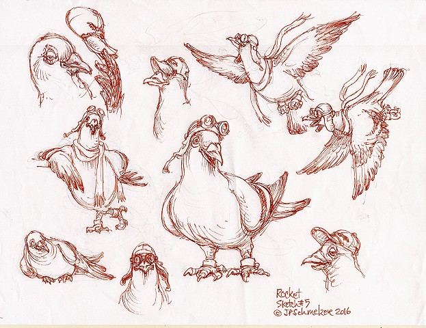 Rocket Pigeon preliminary drawing #5