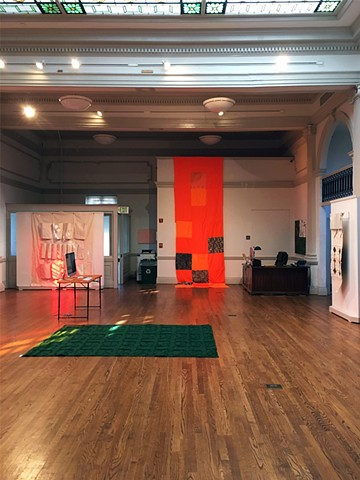 Installation view with HH: Trophy Quilt