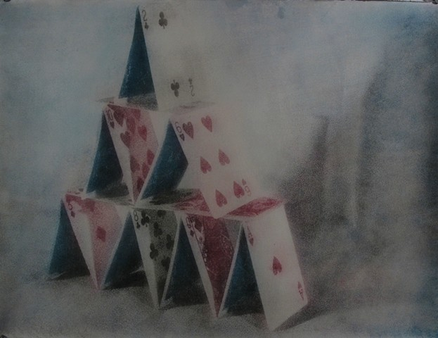 Photographic oil print of a house of cards by E.E. Smith