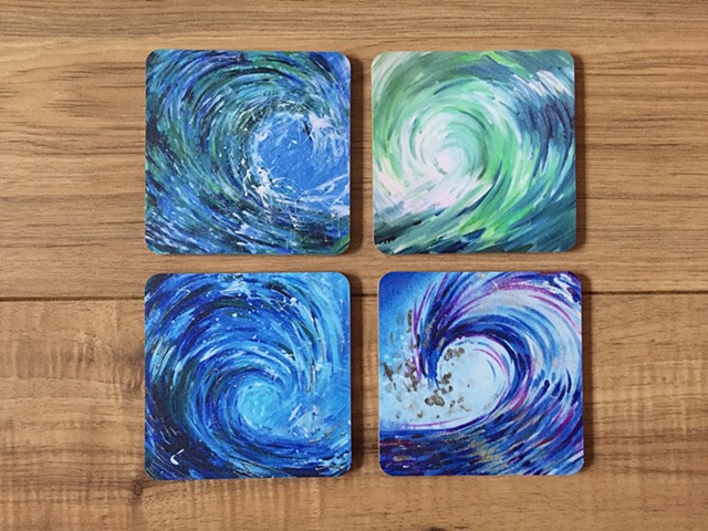 Set of 4 wave coasters in acetate box CURRENTLY OUT OF STOCK