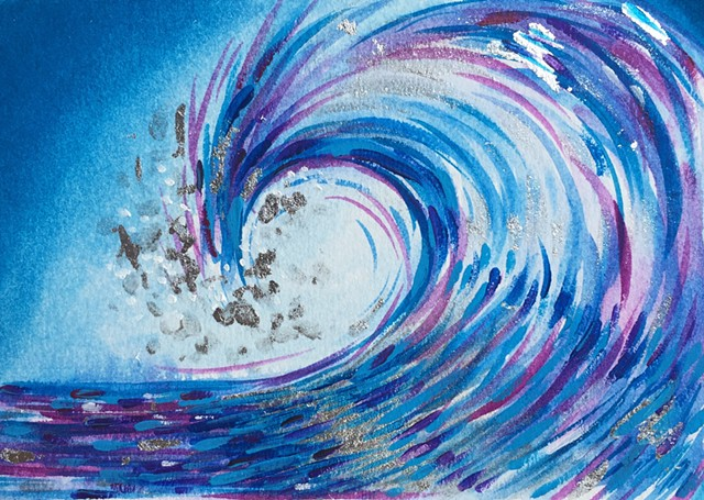 Wave art surf miniature painting