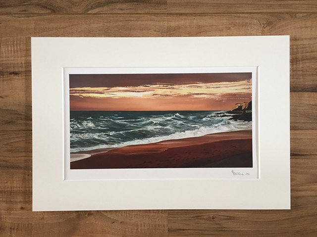 Ventnor Beach, Isle of white giclée art print. Mounted.
