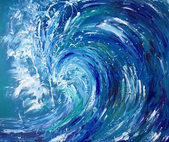 Crashing wave painting acrylic
