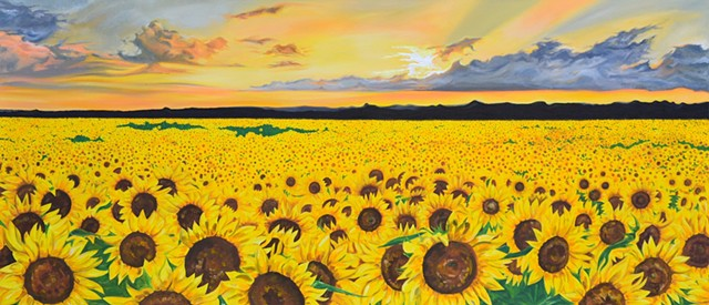 Sunflower fields acrylic painting large canvas