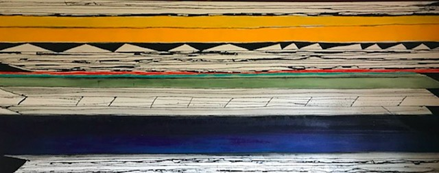 "SOLD ""YOU GOTTA LOVE THE SOUTHWEST"" (30"" X 74"") Acrylic, Oil, India Ink on Raw Canvas"