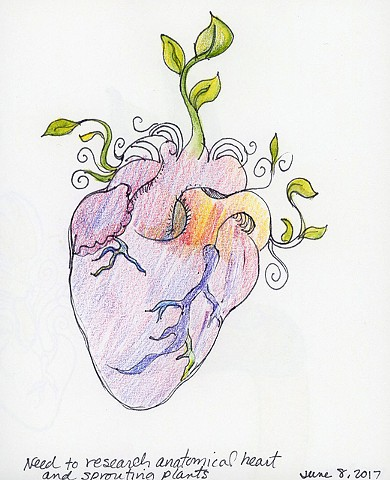human heart with greenery