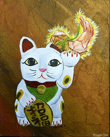 Maneki Neko Cat, shrimp dim sum, good luck.