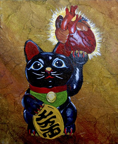 Black Maneki Neko Cat brings good health.