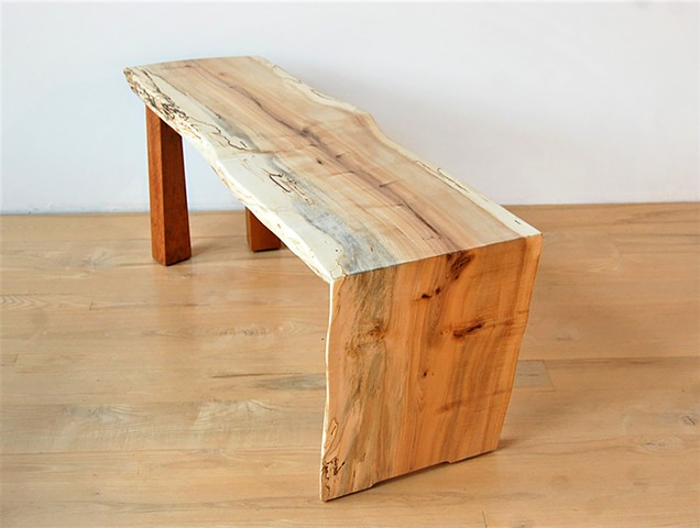 Walking Waterfall Bench  Figured maple on cherry base.