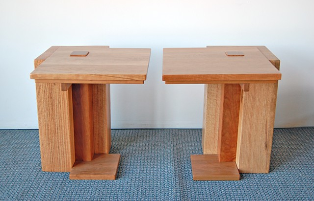 Praire theme End Tables, 25 x 25 x 21 h, cherry on red oak.