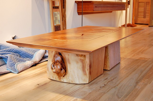 "Stumpy series coffee table, 32 x 64"", cherry on twin willow stumps."
