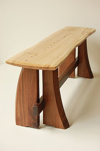 """4 legged Sloop Bench Walnut base with elm top 54 to 72"""" long  available in assorted hardwoods on walnut and cherry bases"""