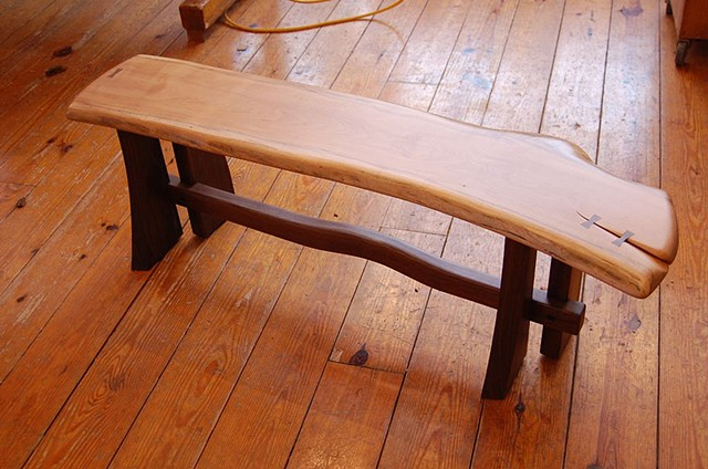 4 legged Sloop Bench Elm top and walnut base  available 54 to 72 inches long, assorted hardwoods on walnut and cherry bases