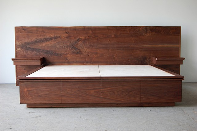 DeMarais/ Mescher platform bed with storage, live edge headboard