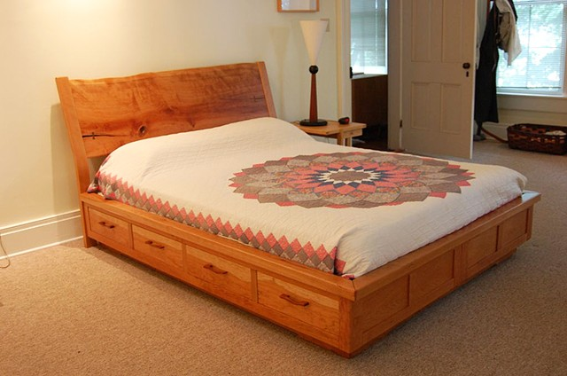 Cherry platform bed with storage, live edge head board