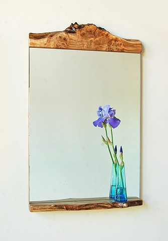 """Big Bit""  mirror series riffing on traditional early American mirrors shown in maple burl. 20 x 38""."