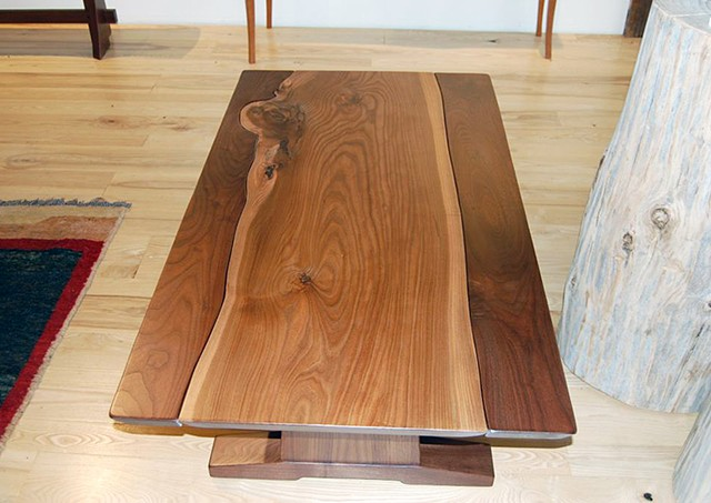 Elms Collection - English elm on walnut coffee table