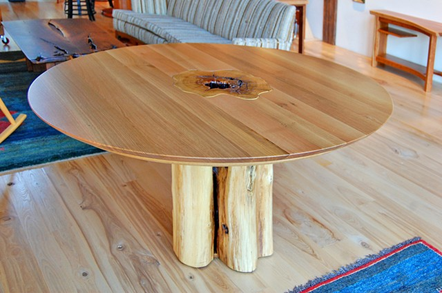 "Stumpy series dining table, 60"" diameter x 30"" high.  White oak on black locust."